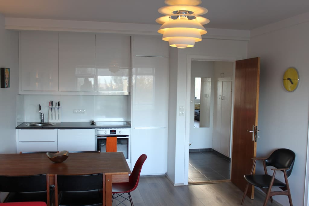 Modern kitchen is in the main living room with everything included; fridge, stove, dish washer and an oven.