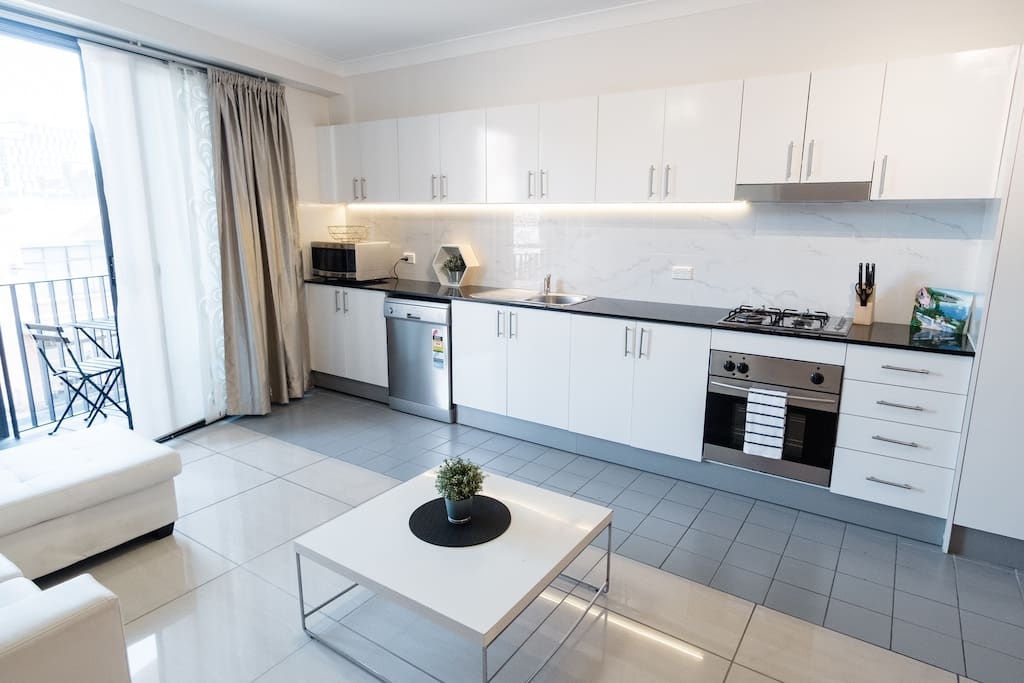 Fully featured kitchen with everything you need to stay in and cook
