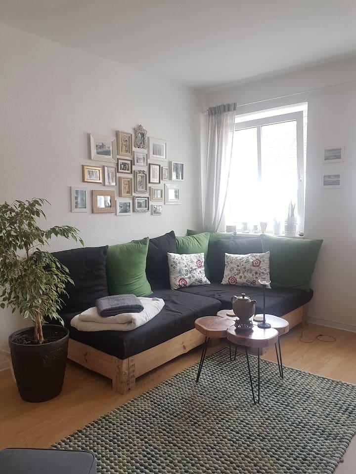 Wohnzimmer, Schlafcouch 1,40×2,00m