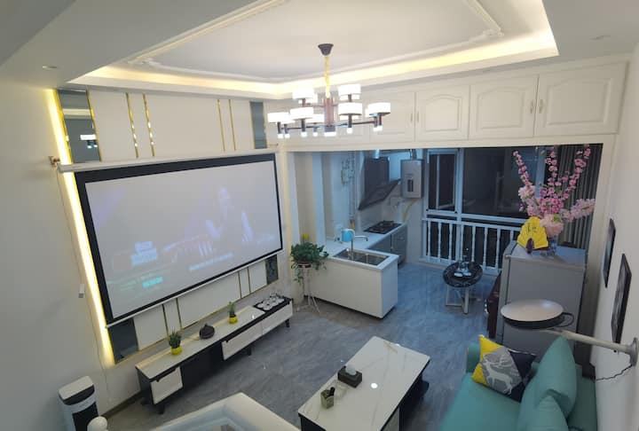 万达,loft精装双层公寓,私人影院