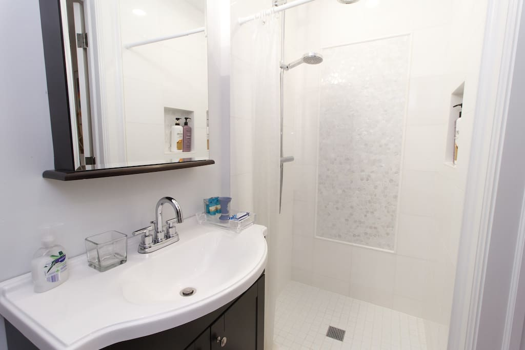 Newly renovated white Carrara marble bathroom