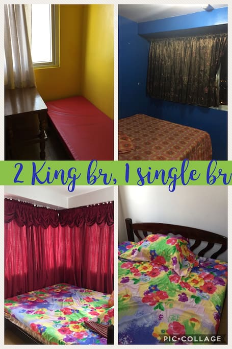 2 bedrooms with 2 king beds , 2 extra king matresses beneath,1 sofa bed