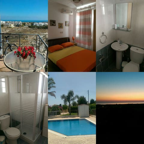 PRIVATE DOUBLE ROOM WITH BATHROOM - SEA VIEW - Paralimni - Departamento