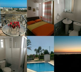 PRIVATE DOUBLE ROOM WITH BATHROOM - SEA VIEW - Paralimni - Appartement