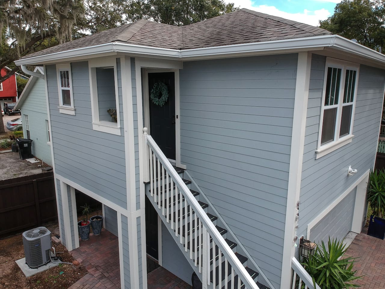 Private, above the garage, luxury apartment that will be your home away from home once you go up those steps.