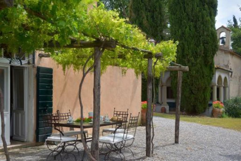 View from the pergola to the private chapel