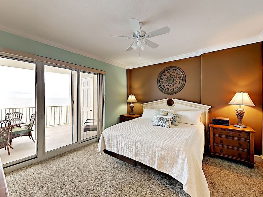 The king-size bed in the spacious master bedroom