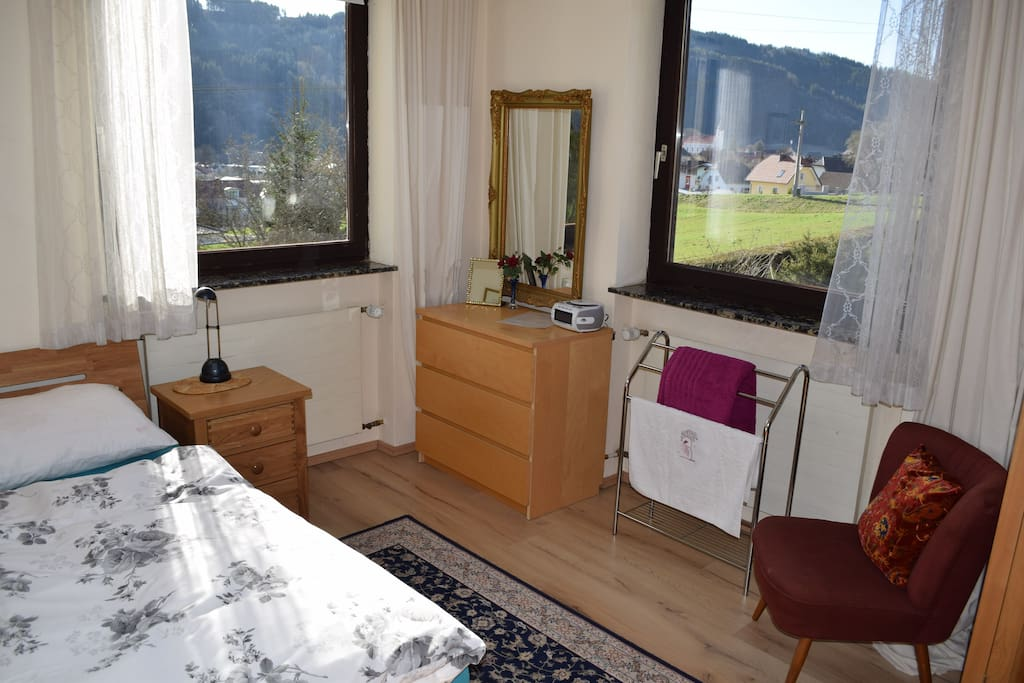 The bedroom, clean and cosy with great views and a brand new, very comfortable bed!