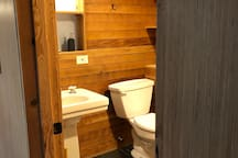 Beautiful reclaimed wood in the large bathroom