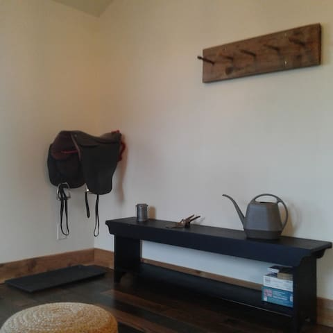 Entry boot tray and coat rack
