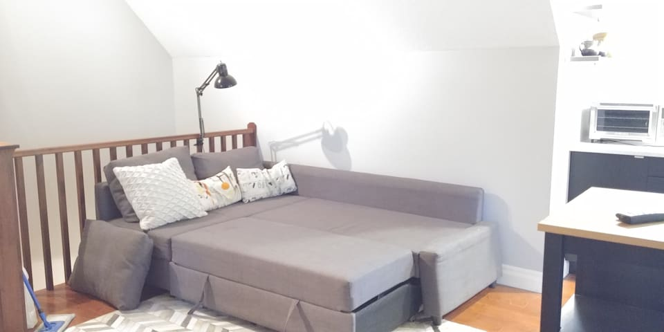 The sectional sofa bed pulls out into a full sized bed!