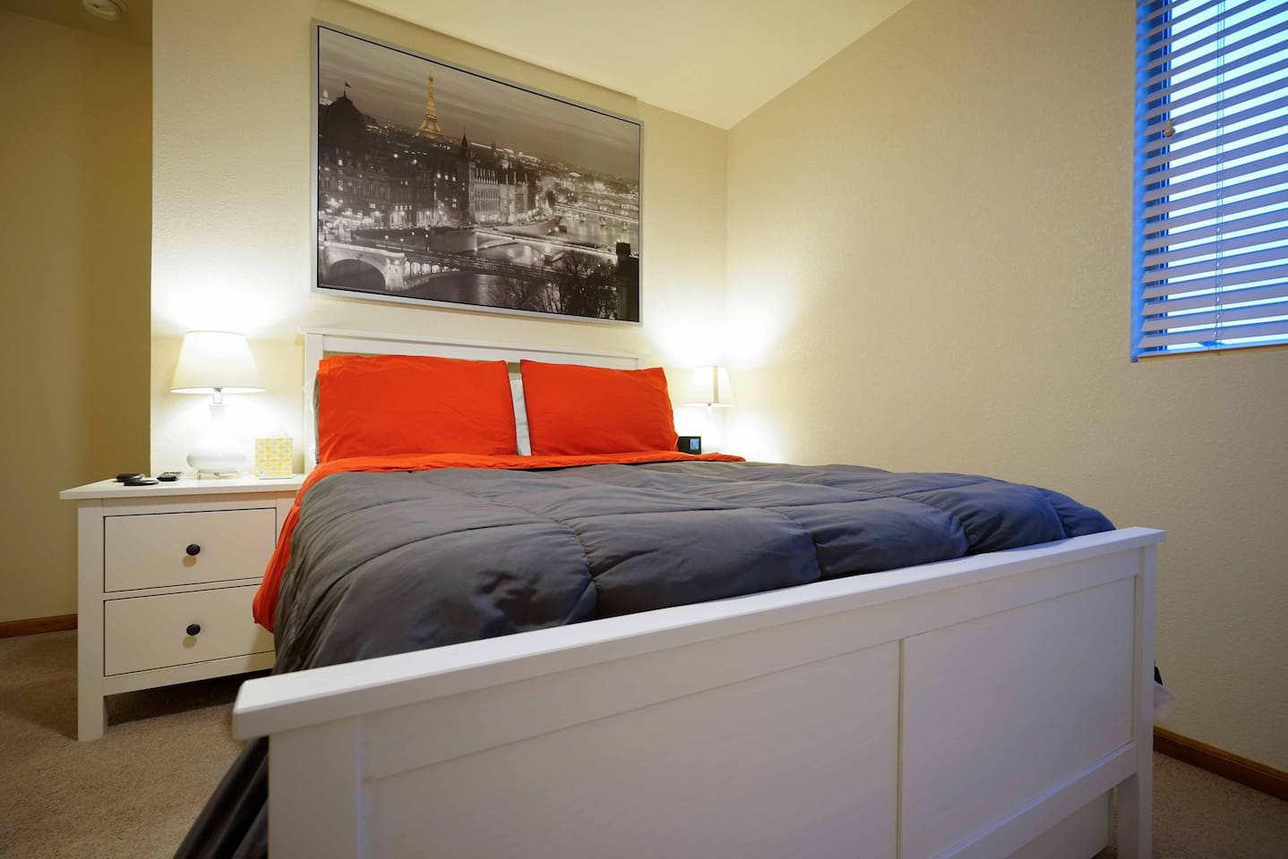 Full sized bed with alarm clock and fan with LED dimming light