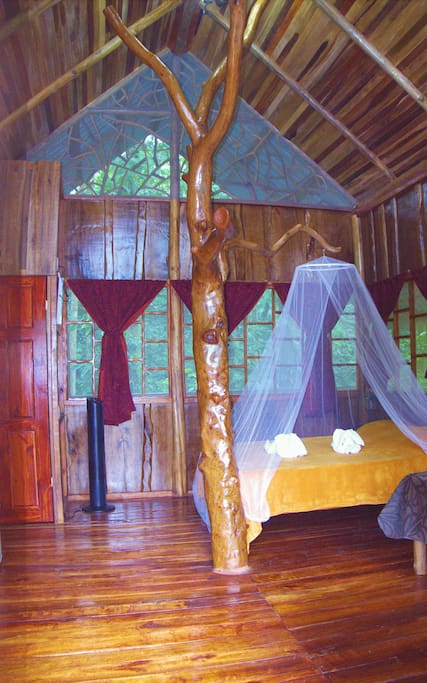 Interior with tree and queen size bed