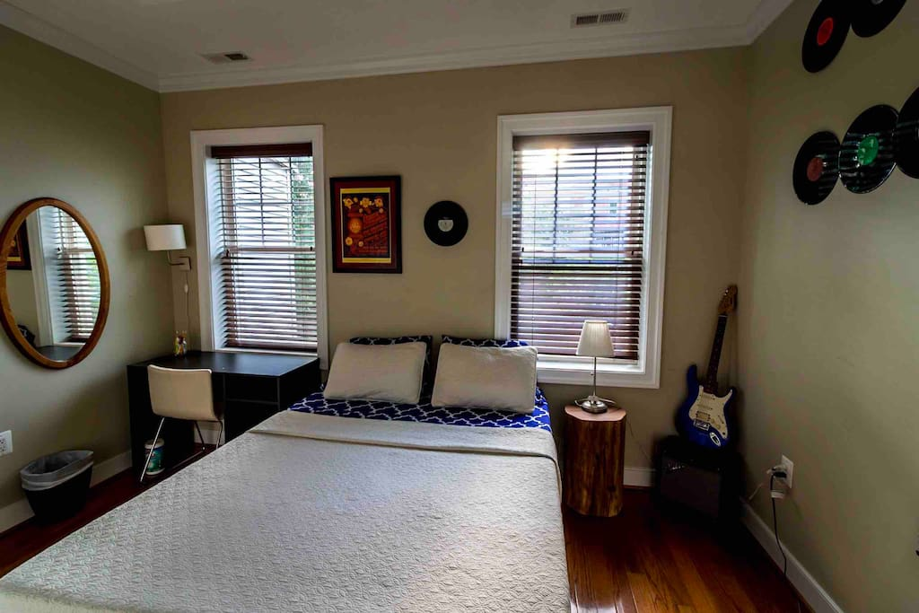 Your room- soaring ceilings and a rock and roll theme.
