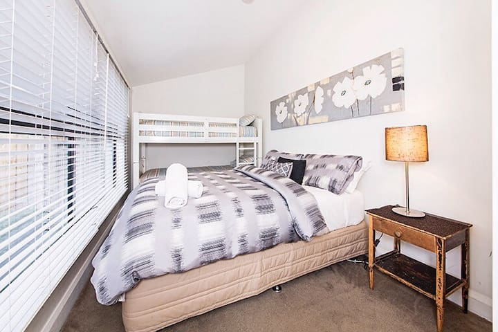 3rd bedroom with double bed & bunk beds