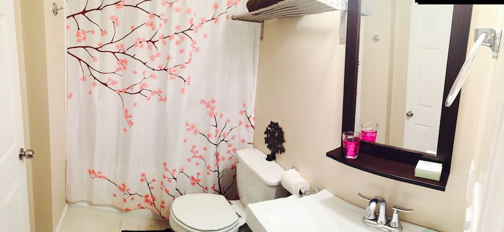Newly renovated bathroom. Relax after a   Long day on the slopes in the deep soaker tub --enjoy!