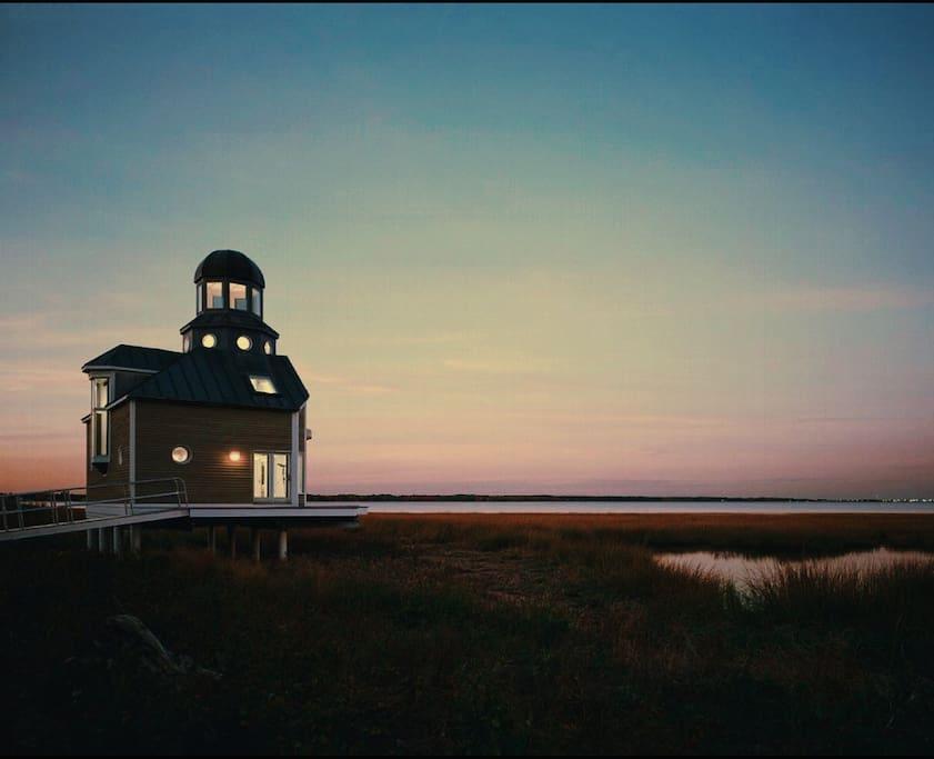Twilight photo taken at low tide