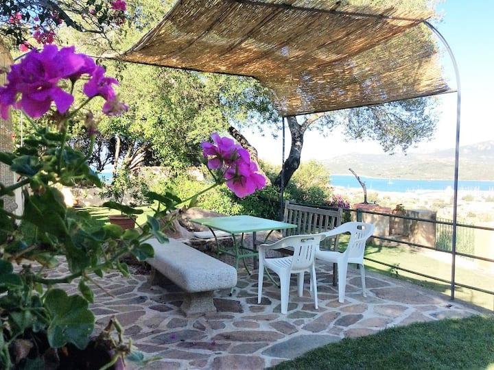Casa con prato verde, giardino alberato vista mare