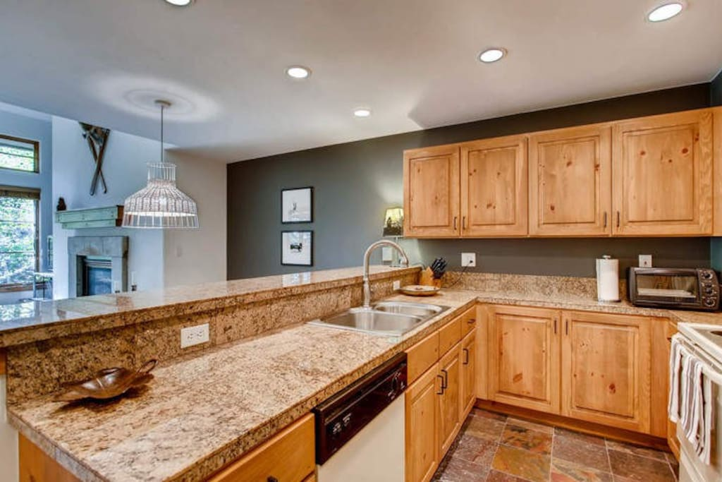 Granite countertops in the kitchen make cooking a delight