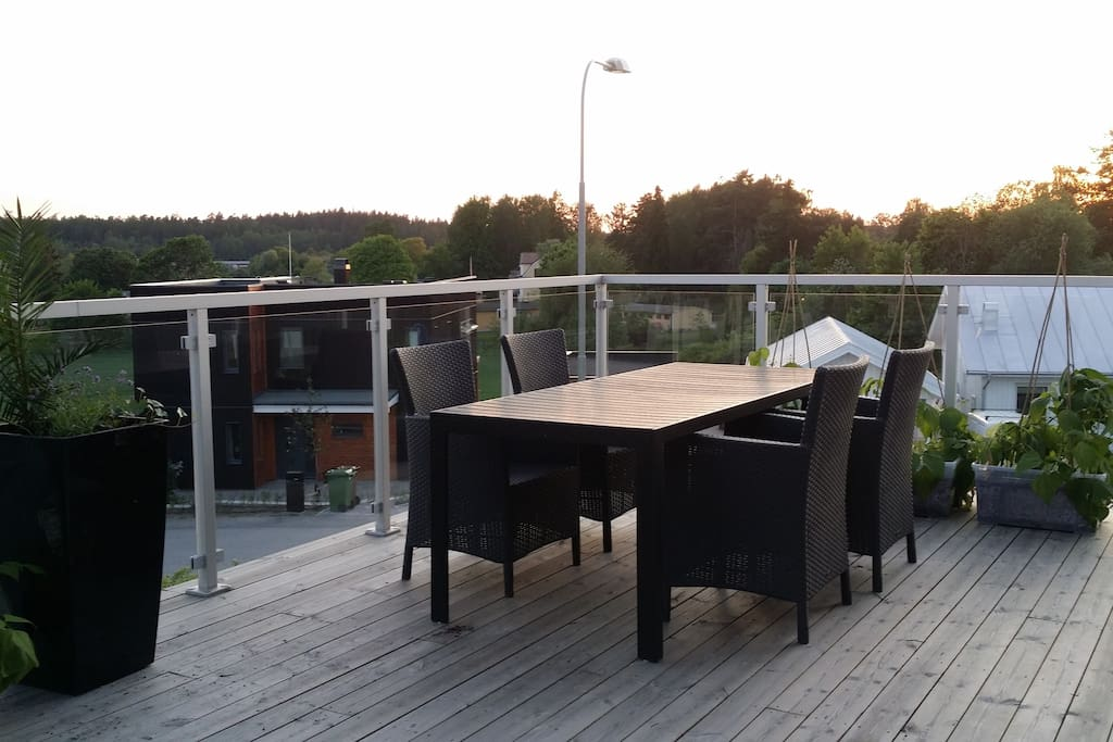 30 square meters balcony with great view over rural area.