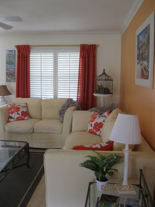 Bright cheerful living room with full size sofa and loveseat, TV