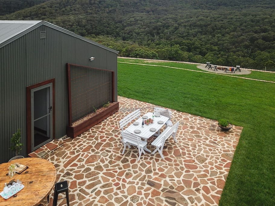 Drone shot of your private entertaining area