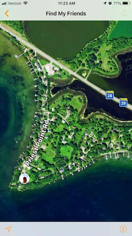 Priest Point View is easy to find. Travel to the end of Priest Point Road for an amazing getaway!