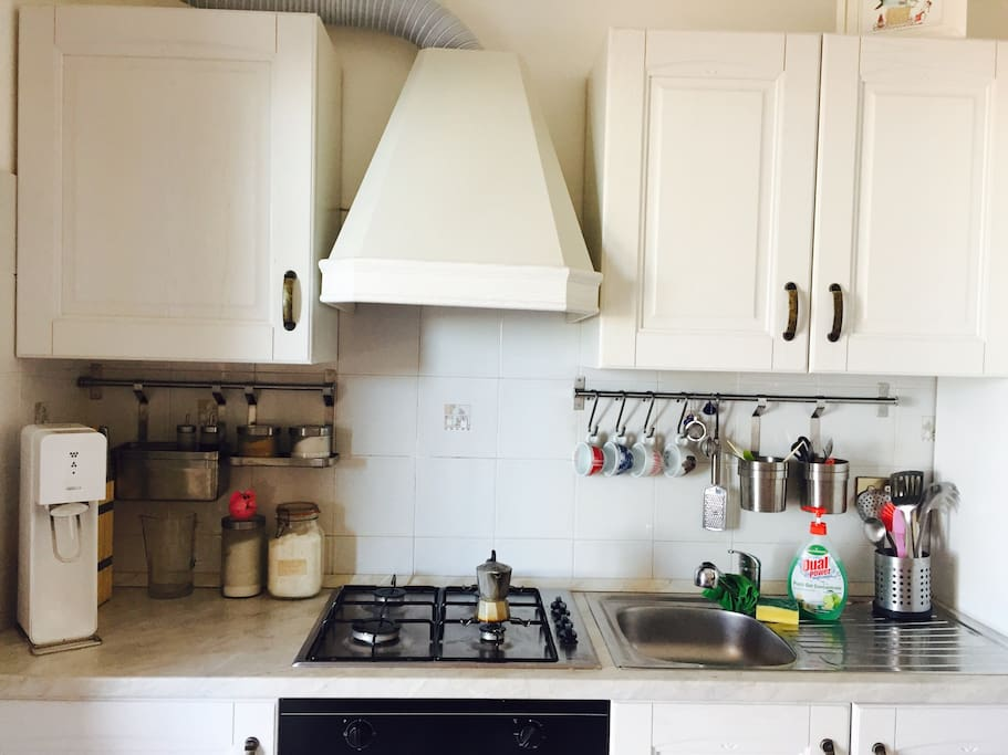 The little but full furnished kitchen.