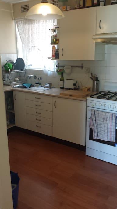 Gas cooking, refurbished kitchen.