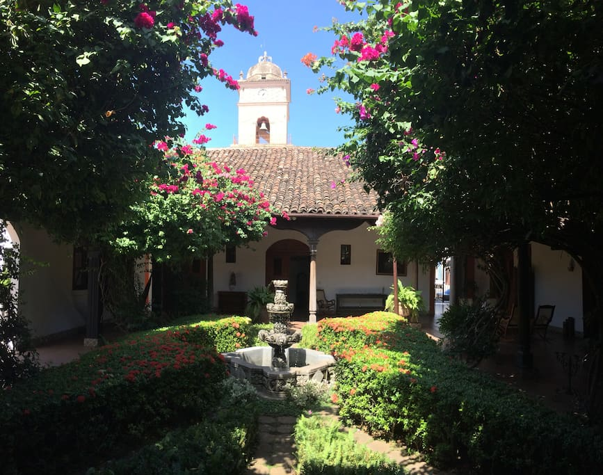 View of the Iglesia la Merced's tower from our Garden Courtyard