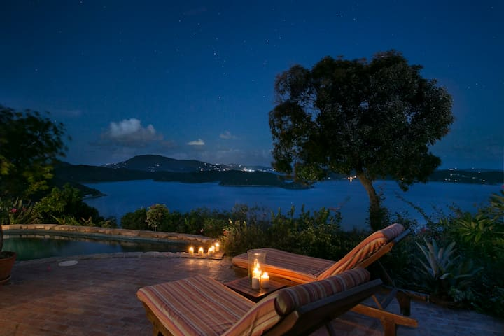Day or Night Astral Ridge in Coral Bay is Romantic and Gorgeous - Watch the Stars or Take in the Sun - St. John, USVI Villa  Rental