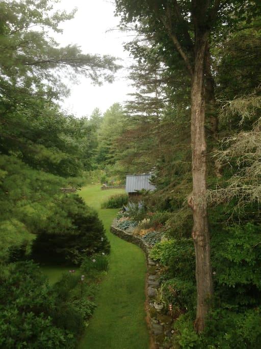 View of gardens from window of bedroom