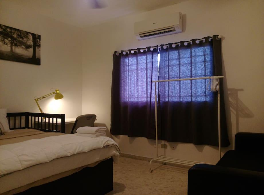 Bedroom, new air conditioner, sofa