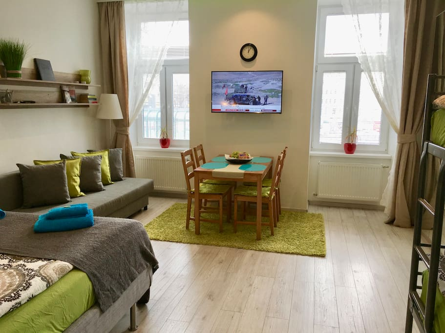 The apartment is facing the south so it is totally bright and friendly. Outside the windows you see the entrance to the underground station U4 Meidling Hauptstrasse.