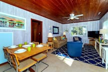 Open plan dining and living area.