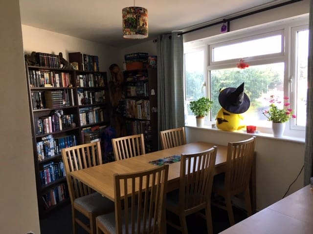 The games room is spacious with two medium sized tables which can be combined to one large if necessary. Games and books are available to be borrowed (there are a lot more books not pictured).