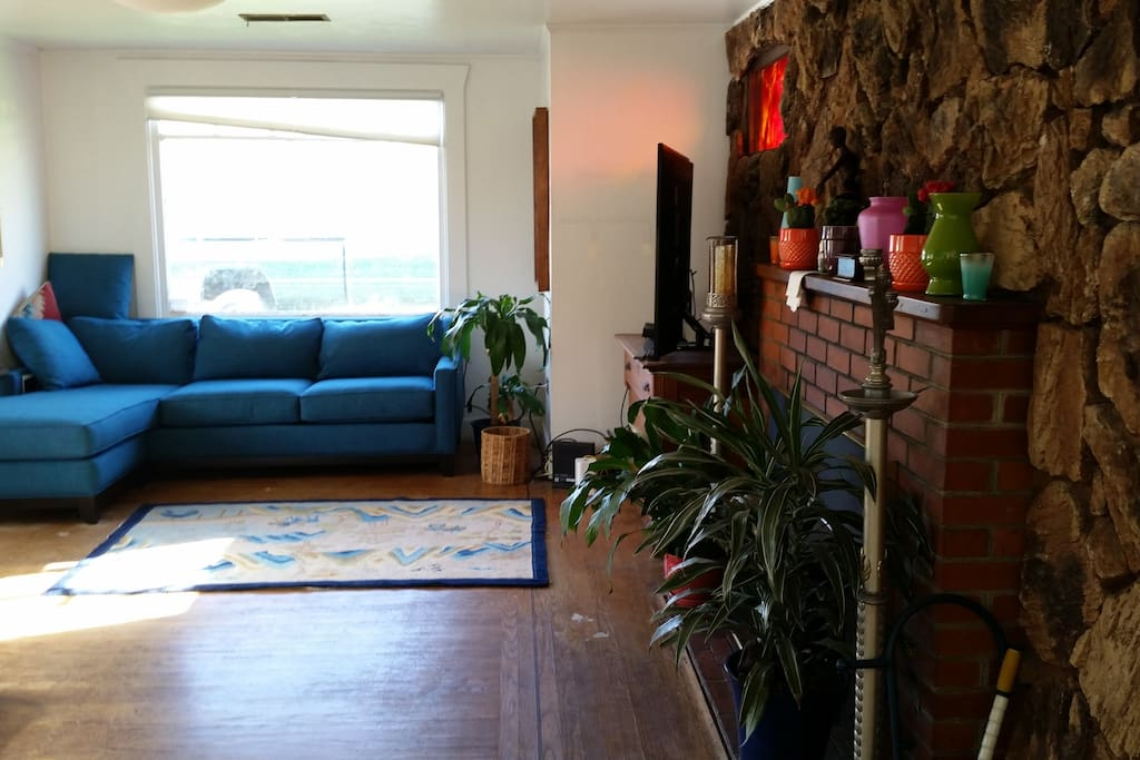 Living room. Large L-shaped couch facing the TV with big picture window and succulent front yard outside.