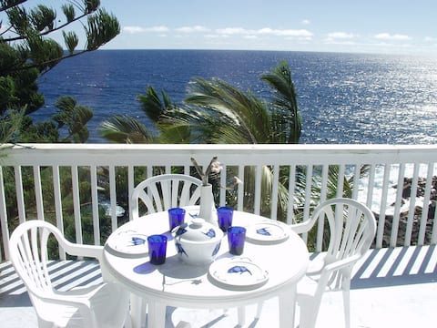Oceanfront 1bd in Tropical Area, black sand beach