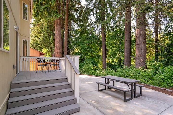 Backyard with large patio table and open space