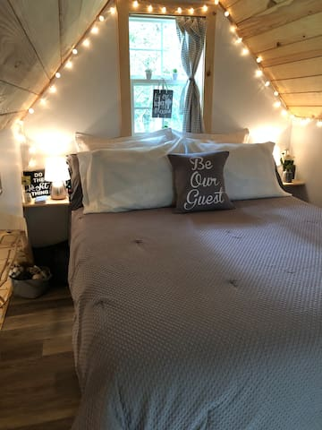 Queen sized bed upstairs
