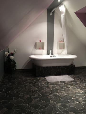 chambre privative sdb et toilettes - Le Coudray-Montceaux - 獨棟