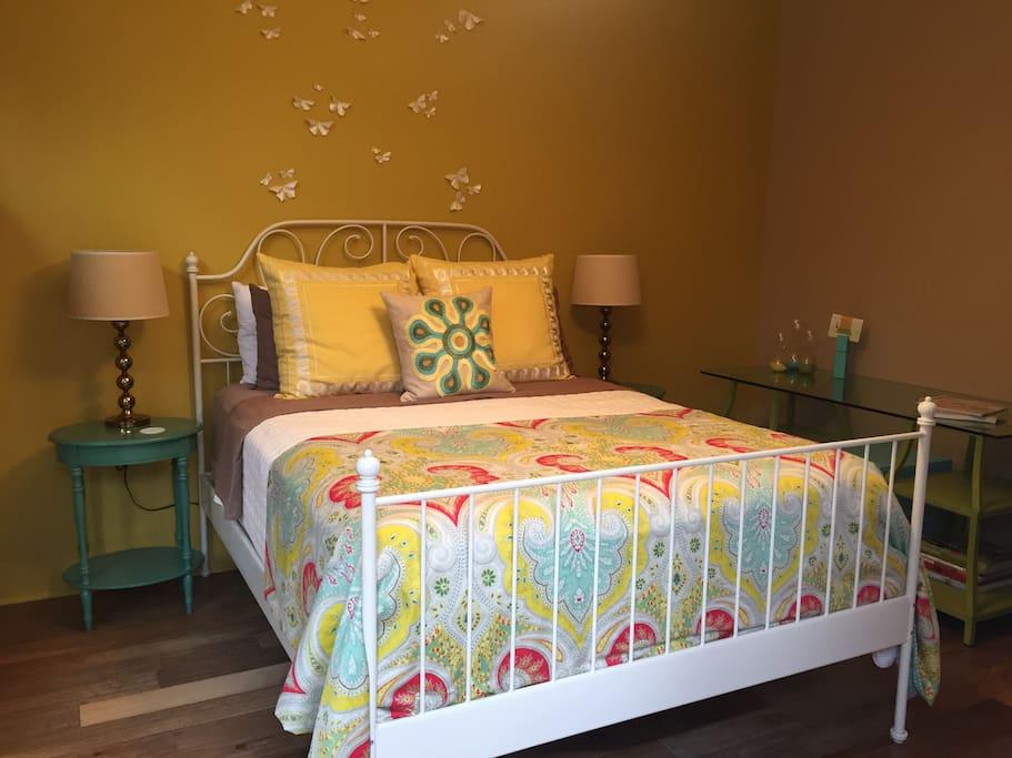 Bedroom + desk area.