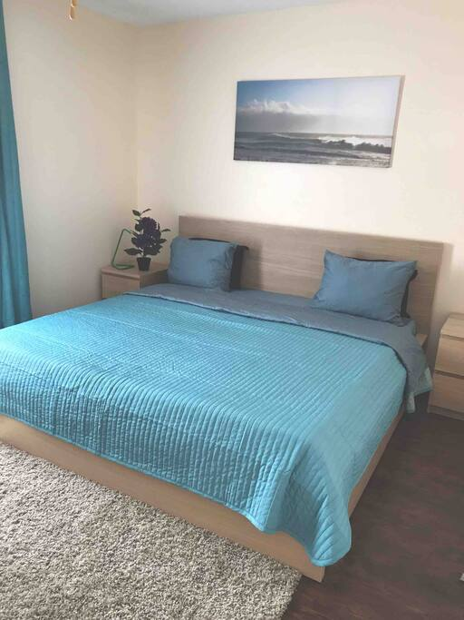 King size bed. Very comfortable mattress. Bedroom with walking closet.