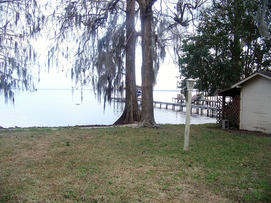 View of Lake Waccamaw from screened in porch.