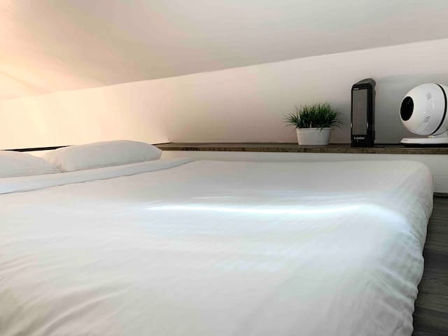 Sleeping arrangement located near the top of the home with Air condition, fan, heating, usb port