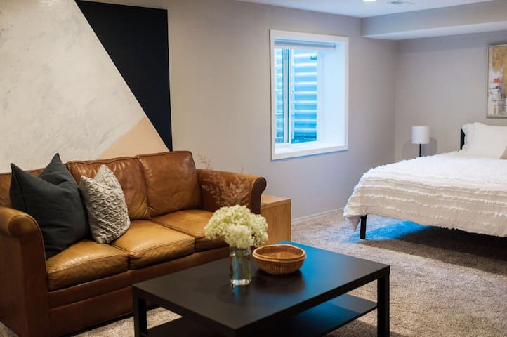comfortable pull-out full sized bed in master bedroom
