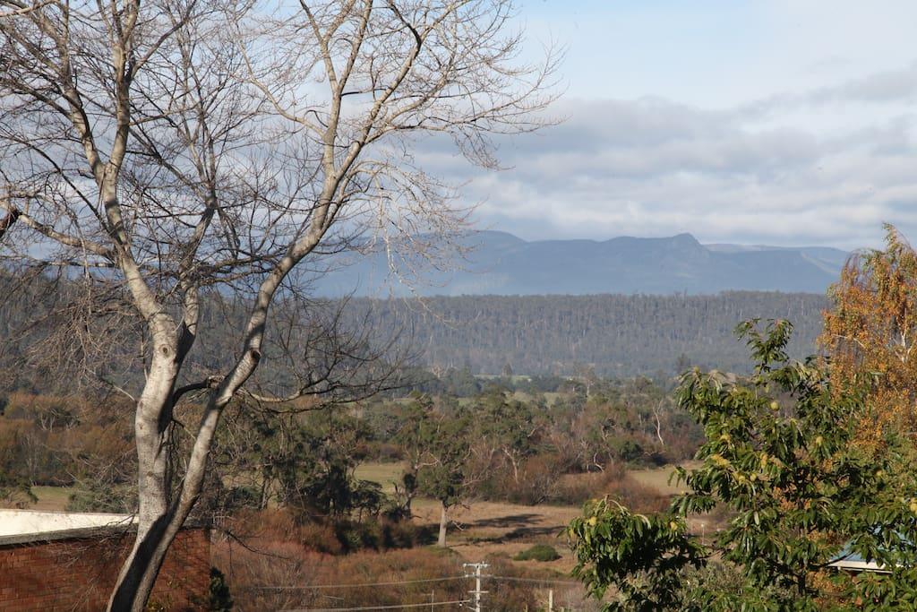 View of Great Western Tiers from Queen Bedroom 1