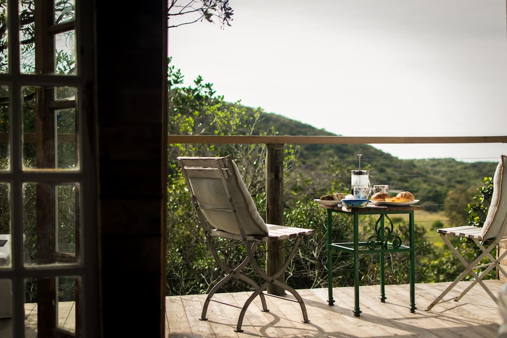 Enjoy morning breakfast on the deck with amazing views