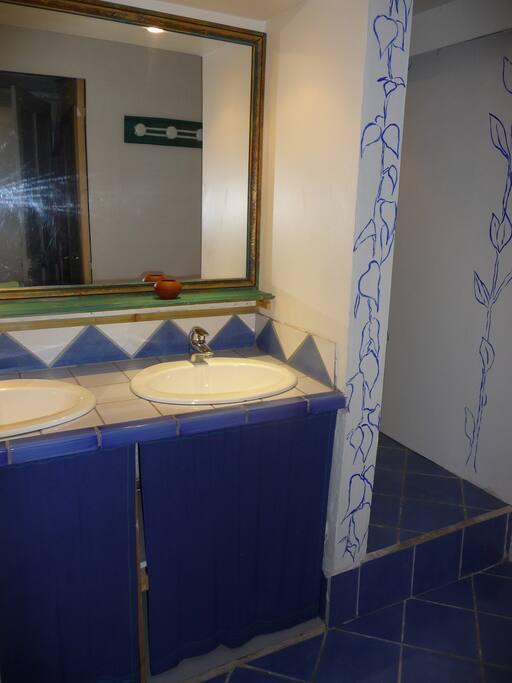 salle bain douche  deux lavabos