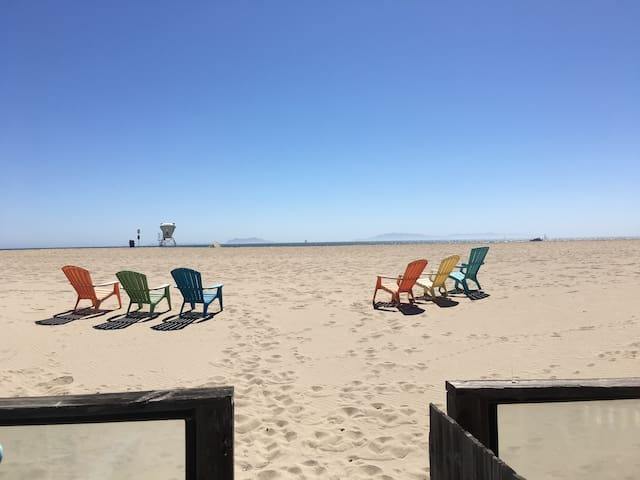 Our chairs on the sand.